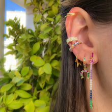 Load image into Gallery viewer, Spikes huggie earring rainbow