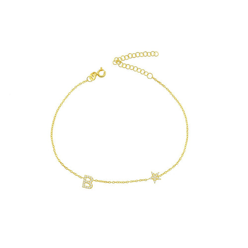 Personalized anklet with letter and star