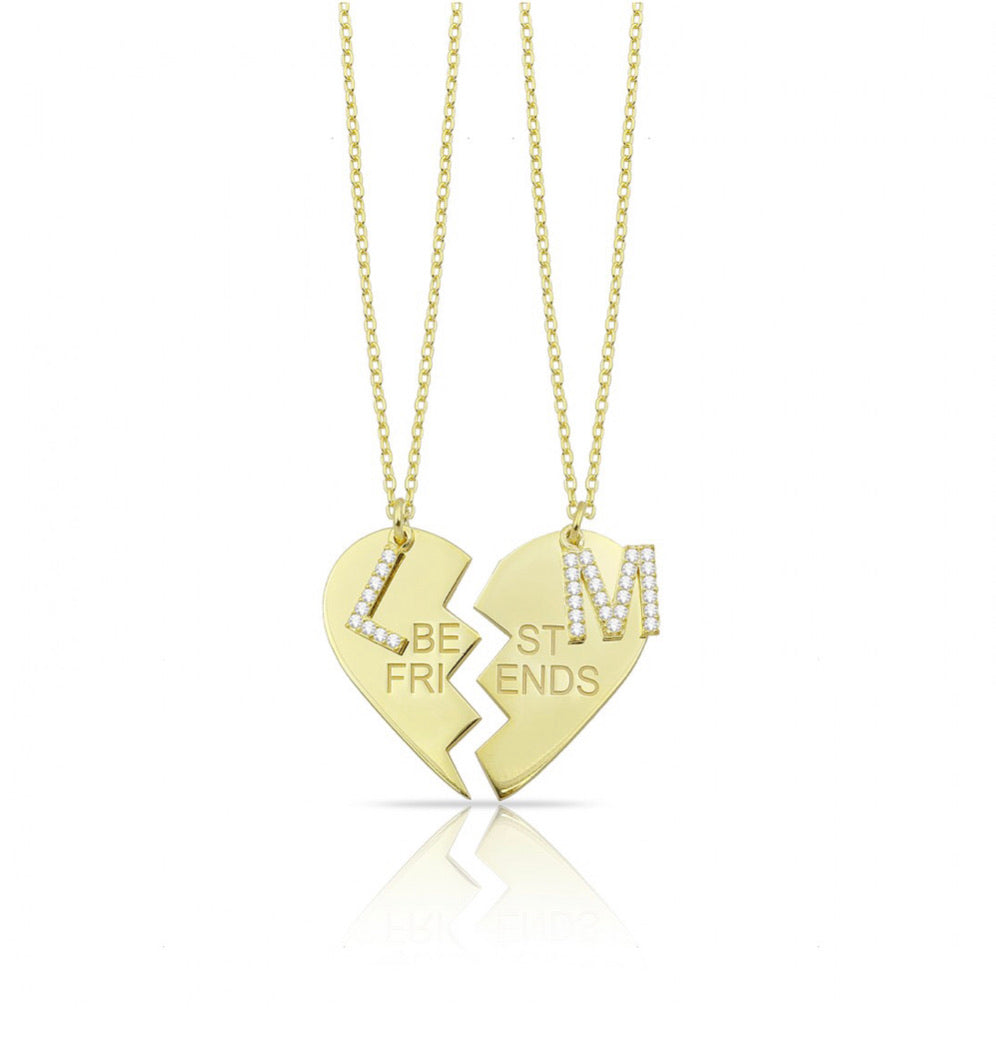 Personalized best friend double love necklaces
