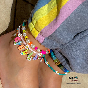 Personalized anklet with color letters name