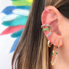 Load image into Gallery viewer, Multicolor rainbow huggie earring