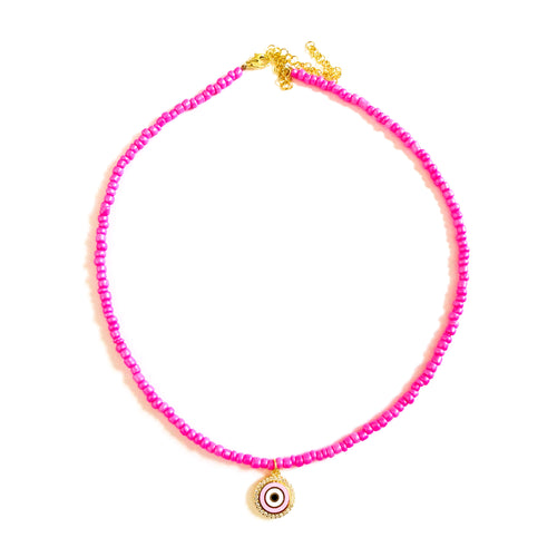 Beads evil eye necklace pink