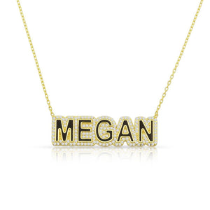 Personalized enamel name luxury necklace block