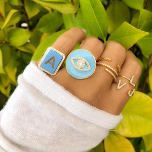 Personalized enamel letter ring