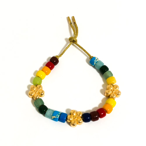 Lurex lace bracelet with beads and flowers rainbow