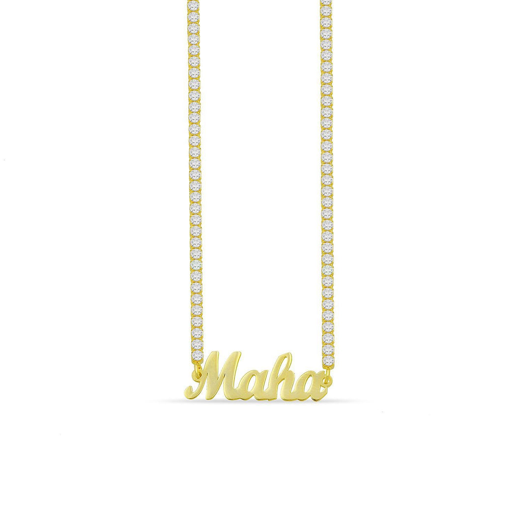 Customized handwriting name tennis necklace