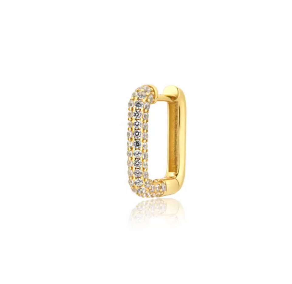 Earring rectangle pave'