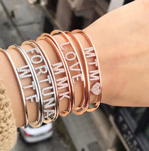 Load image into Gallery viewer, Personalized name  bangle pave'