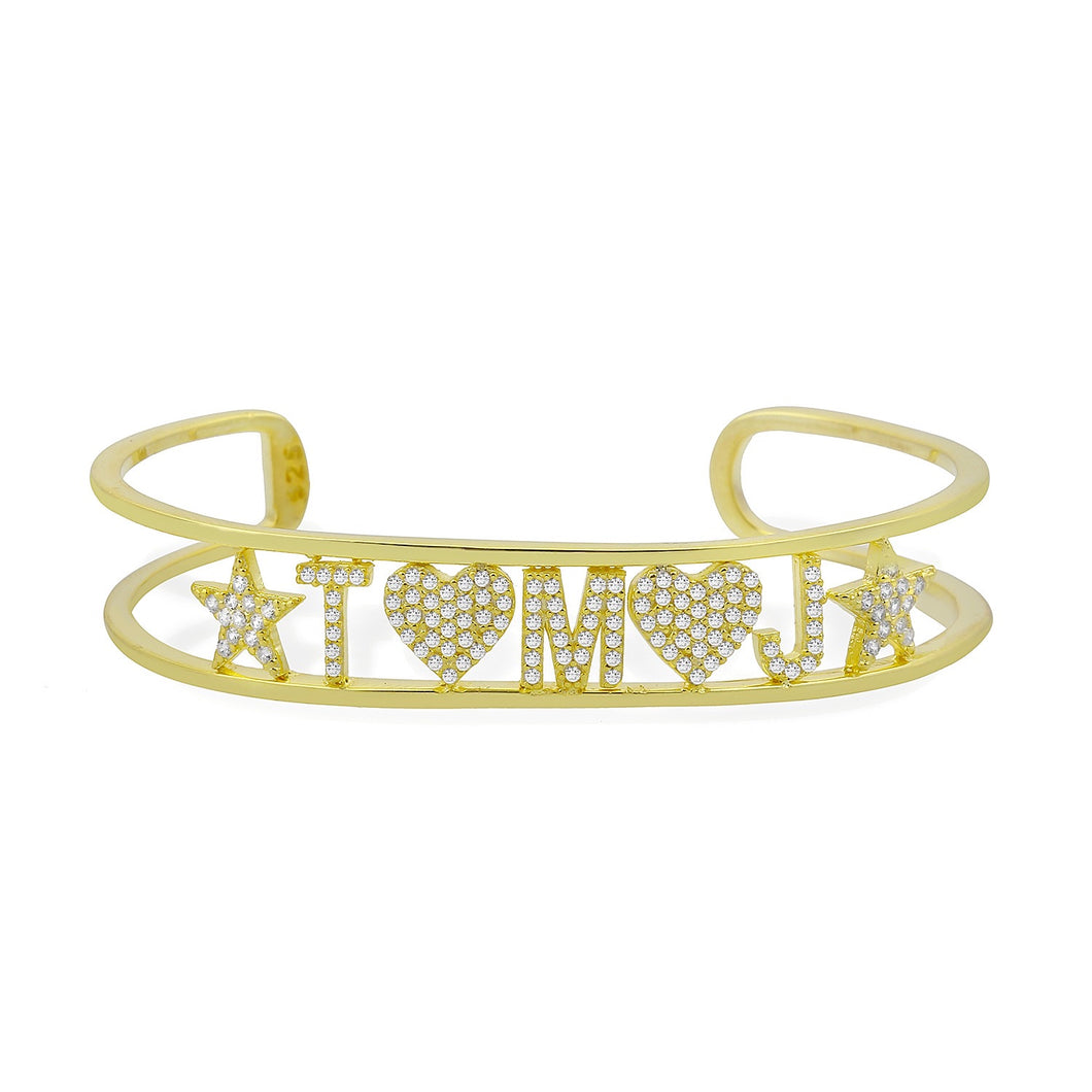 Personalized initials - hearts and stars -bangle pave'