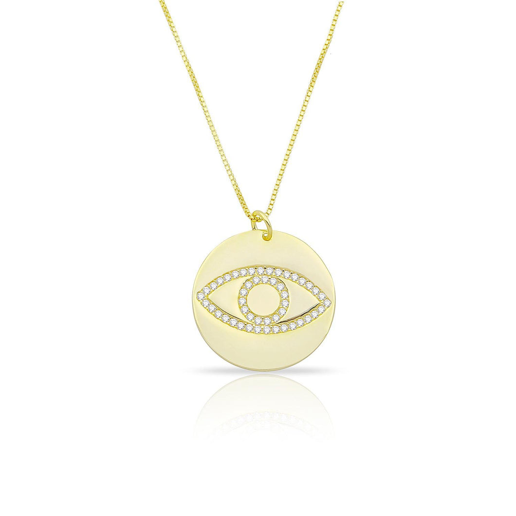 Coin evil eye necklace