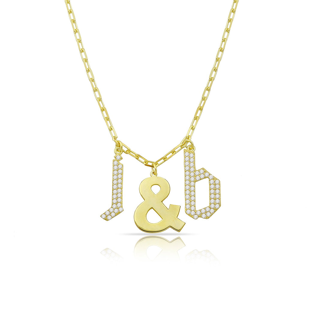 Personalized dangling letters & necklace