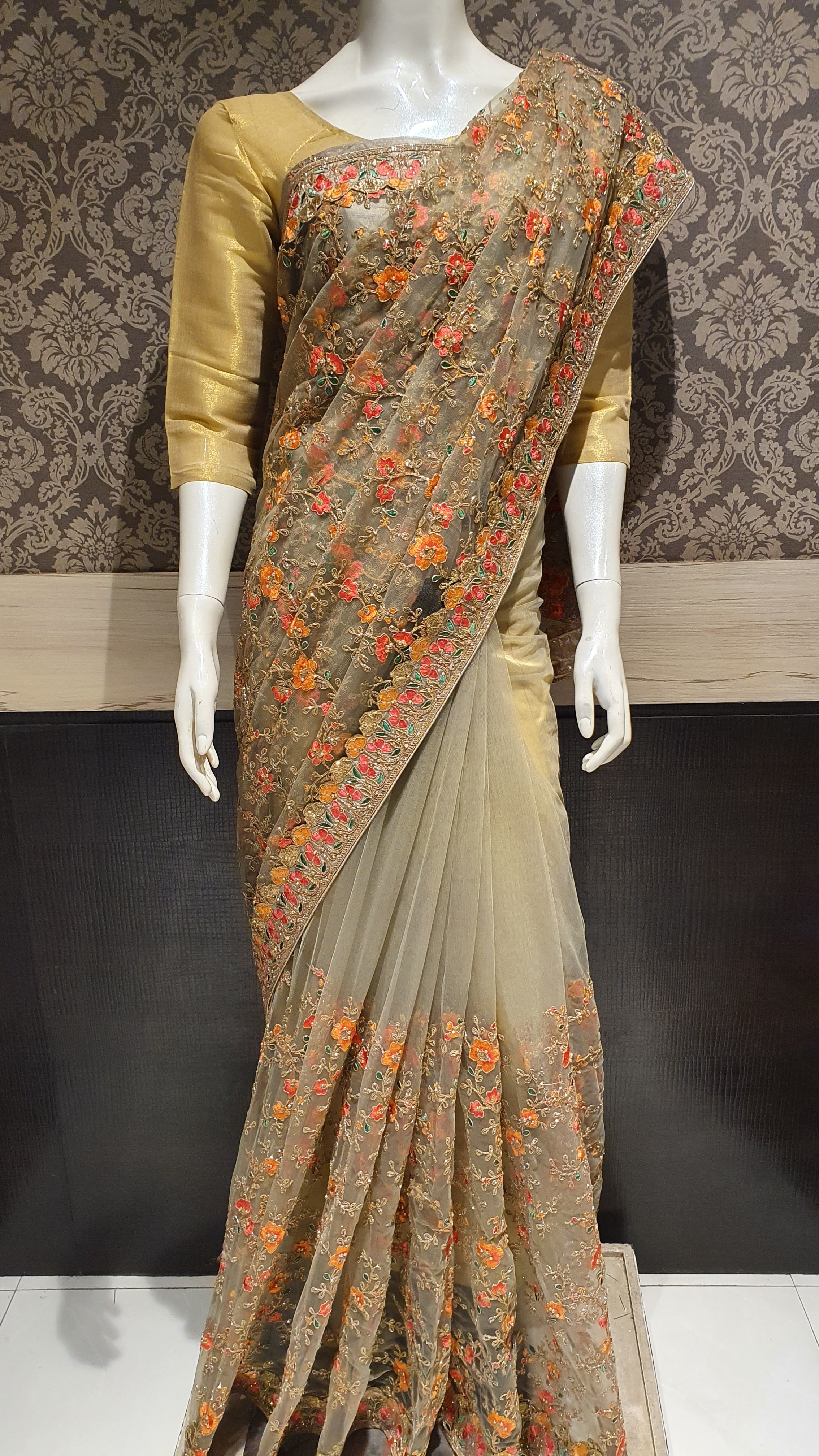 Designer Saree with Colorful Threads
