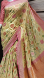 Pure Chiffon Khaddi Saree with Real Zari Work