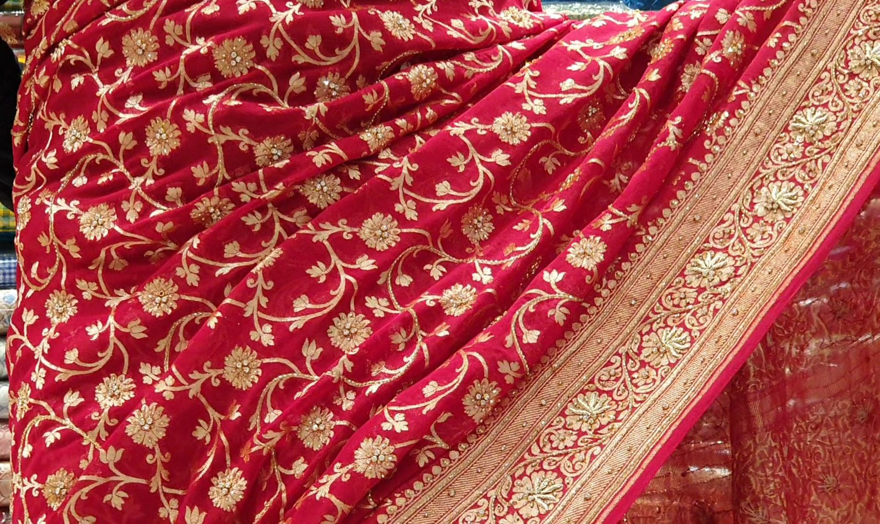 Designer Saree With Zardosi Handwork on Pure Chiffon Fabric