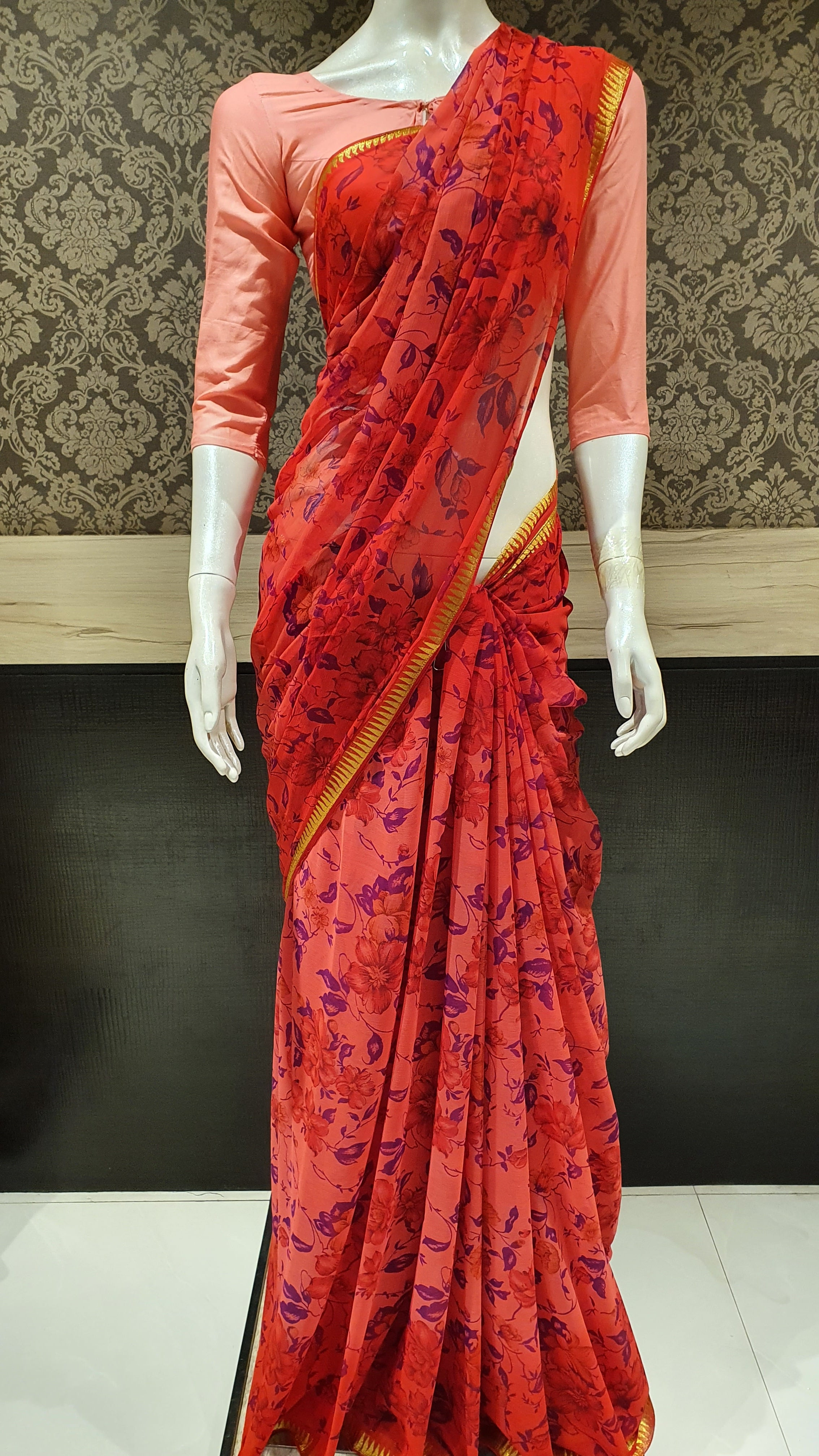 Chiffon Party Saree All Over Body Print