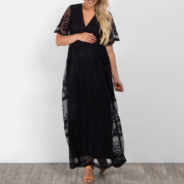 cbcd279922dd9 Maternity Lace Mesh Overlay Maxi Dress – fashionnimo