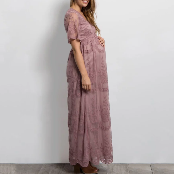 c5f5e93d63e53 Maternity Lace Mesh Overlay Maxi Dress – fashionnimo