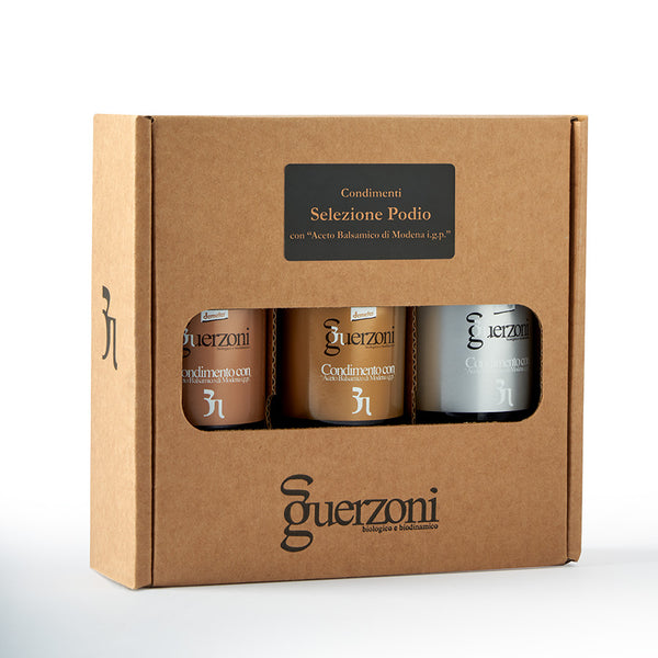 Guerzoni Podio Selection Of 3 Vinegars - Organic, Biodynamic and Demeter Certified brought to you by TheBiodynamic.store