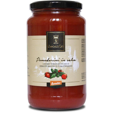 Giancarlo Ceci Cherry tomatoes in sauce 530g. Organic, Biodynamic and Demeter certified.