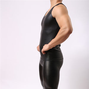 The Beef - Mens Sexy Tank Top Faux Leather