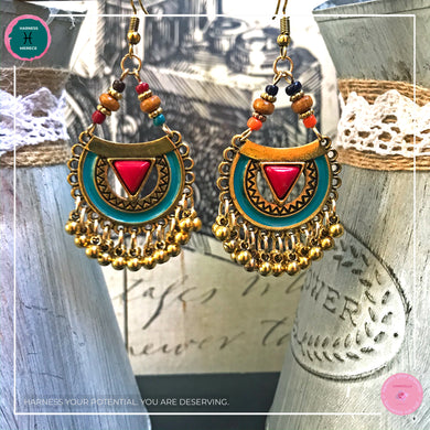 Bohemian Arabian-Inspired Dangle Earrings in Red, Turquoise and Gold - Harness Merece by GTG