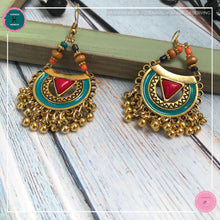 Load image into Gallery viewer, Bohemian Arabian-Inspired Dangle Earrings in Red, Turquoise and Gold - Harness Merece by GTG