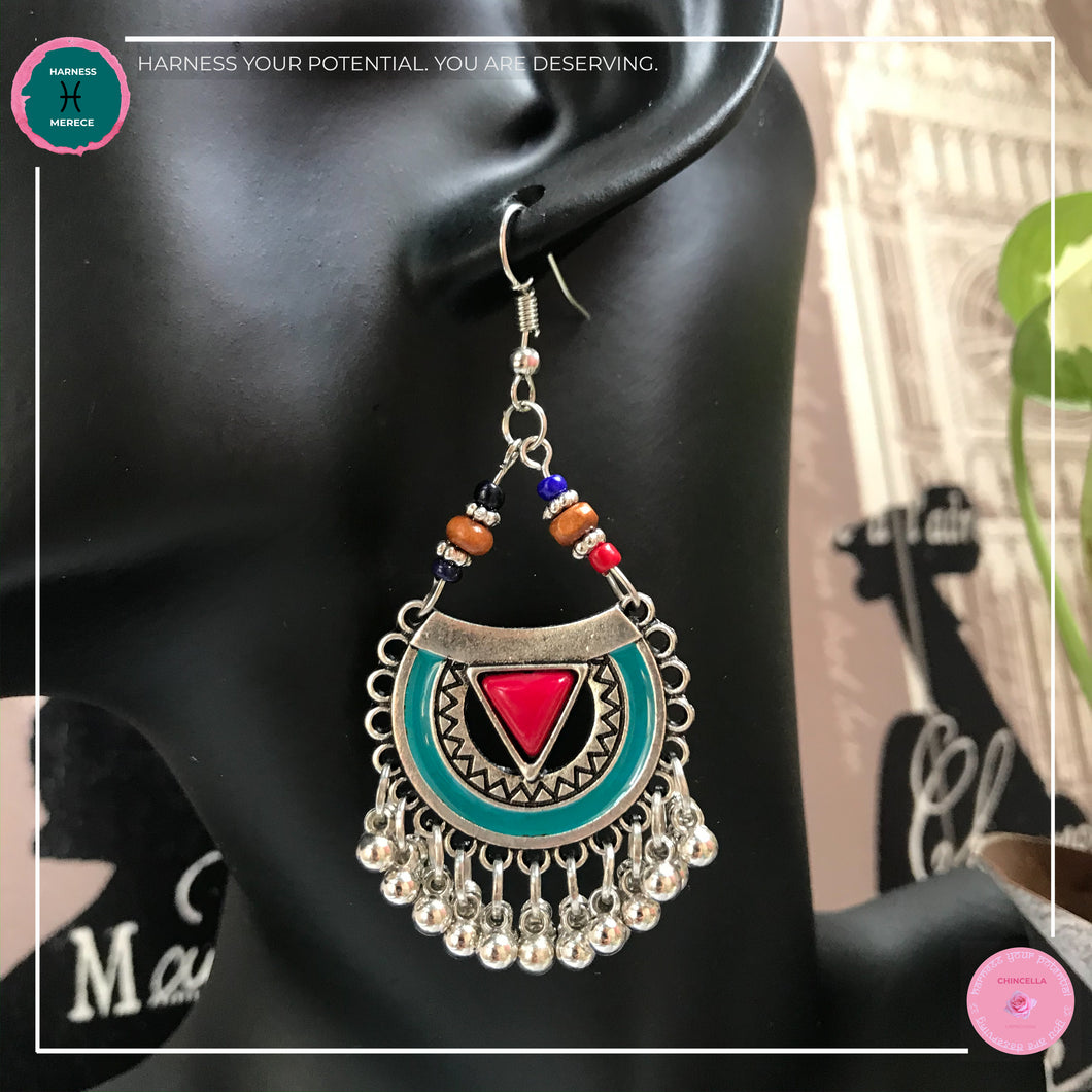 Bohemian Arabian-Inspired Dangle Earrings in Red, Turquoise and Silver - Harness Merece by GTG