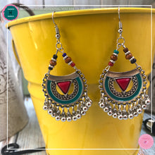 Load image into Gallery viewer, Bohemian Arabian-Inspired Dangle Earrings in Red, Turquoise and Silver - Harness Merece by GTG