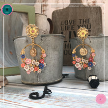 Load image into Gallery viewer, Dainty Stylish Flower Drop Earrings in Pastel Colours and Gold - Harness Merece by GTG