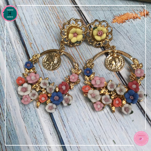 Dainty Stylish Flower Drop Earrings in Pastel Colours and Gold - Harness Merece by GTG