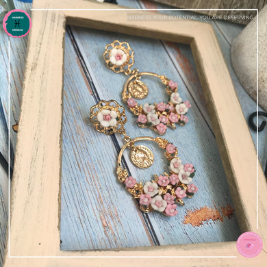 Dainty Stylish Flower Drop Earrings in Blush Pink and Gold - Harness Merece by GTG