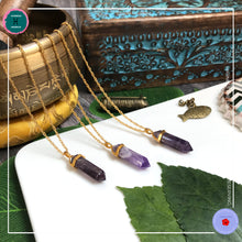 Load image into Gallery viewer, Double-terminated Amethyst Pendant Gold Necklace - Harness Merece by GTG