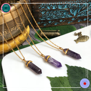 Double-terminated Amethyst Pendant Gold Necklace - Harness Merece by GTG