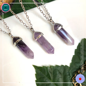 Double-terminated Amethyst Pendant Silver Necklace - Harness Merece by GTG
