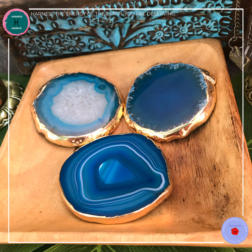 Hand-cut Brazilian Blue Agate Coaster - Harness Merece by GTG