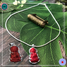 Load image into Gallery viewer, Hand-carved Coral Buddha Pendant Silver Necklace - Harness Merece by GTG