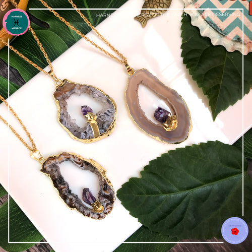 Druzy Agate with Amethyst Gold Necklace - Harness Merece by GTG