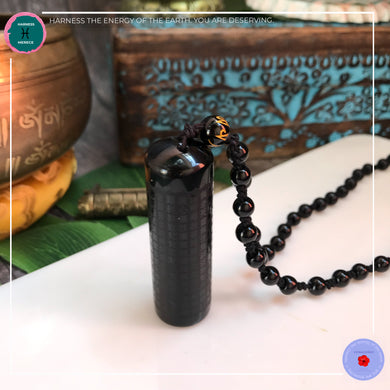 Black Obsidian Buddhism Scroll Necklace - Harness Merece by GTG