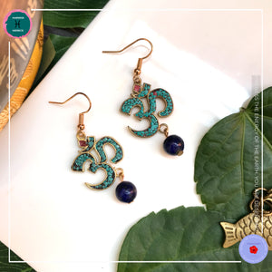 Om Lapis Lazuli Drop Earrings - Harness Merece by GTG