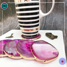 Load image into Gallery viewer, Hand-cut Brazilian Pink Agate Coaster - Harness Merece by GTG