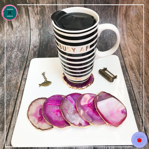 Hand-cut Brazilian Pink Agate Coaster - Harness Merece by GTG