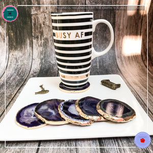 Hand-cut Brazilian Purple Agate Coaster - Harness Merece by GTG