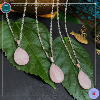 Teardrop Rose Quartz Pendant Silver Necklace - Harness Merece by GTG