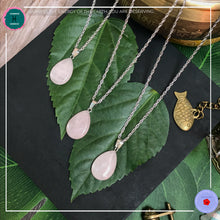 Load image into Gallery viewer, Teardrop Rose Quartz Pendant Silver Necklace - Harness Merece by GTG