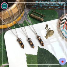 Load image into Gallery viewer, Double-terminated Tiger Eye Pendant Silver Necklace - Harness Merece by GTG