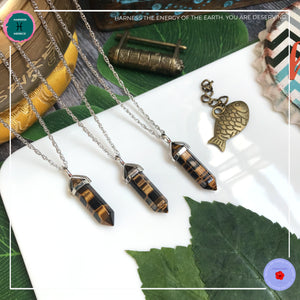 Double-terminated Tiger Eye Pendant Silver Necklace - Harness Merece by GTG
