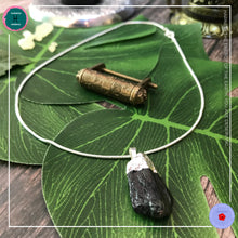 Load image into Gallery viewer, Raw Black Tourmaline Pendant Silver Necklace - Harness Merece by GTG