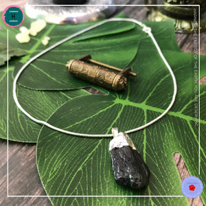 Raw Black Tourmaline Pendant Silver Necklace - Harness Merece by GTG