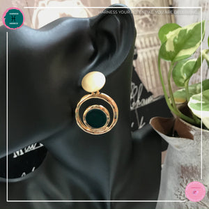 Stylishly Chic Stud Earrings in Dark Green and Gold - Harness Merece by GTG