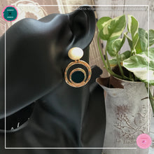 Load image into Gallery viewer, Stylishly Chic Stud Earrings in Dark Green and Gold - Harness Merece by GTG